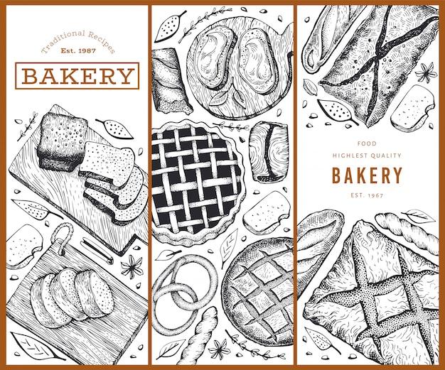 パンとペストリーのセットです。パン屋さんの手描きイラスト。ビンテージテンプレート。