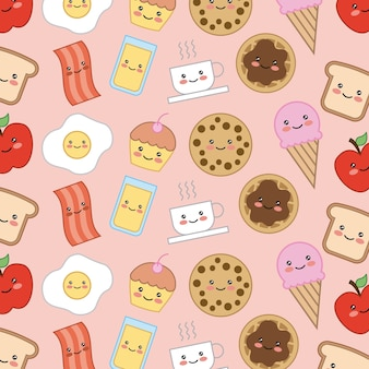 Bread bacon cookie cake egg apple kawaii cartoon food