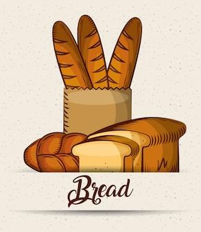 Хлебный багет в бумажном пакете тосты круассан постер