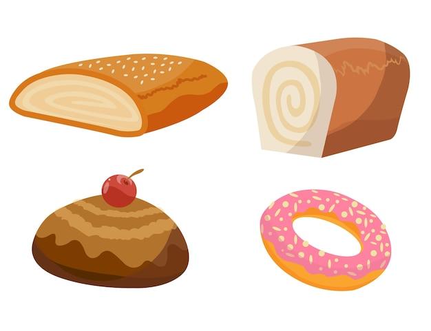 Ассортимент хлебобулочных изделий. набор хлебобулочных изделий для меню пекарни, книга рецептов. мультяшные милые персонажи из багета, круассана, печенья, булочки, торта.