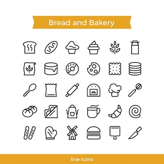 Bread and bakery icon pack, line style