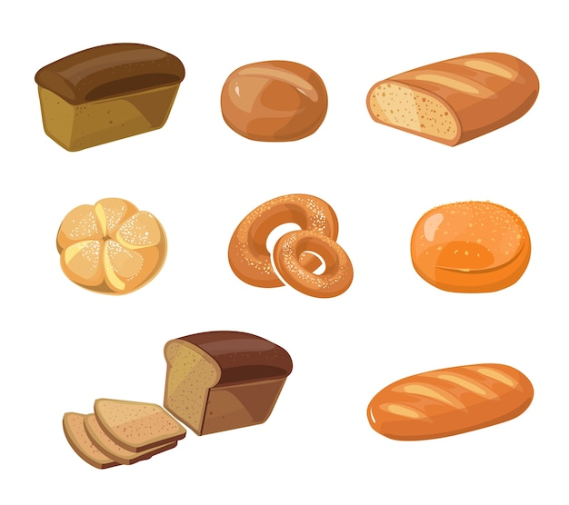 Bread bakery products vector cartoon icons