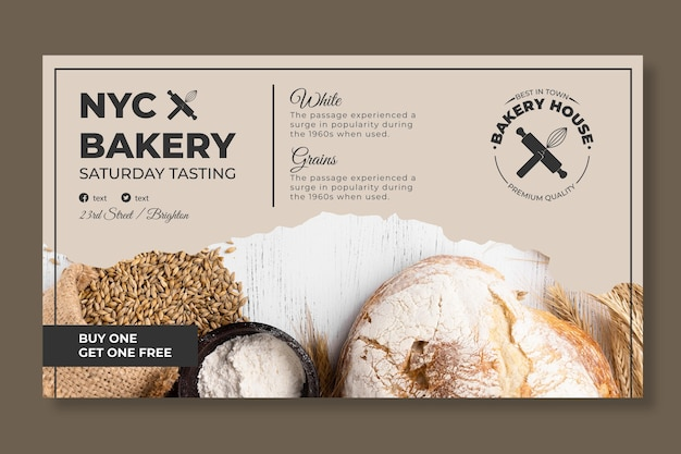 Bread banner template with photo