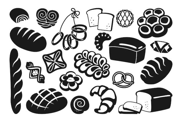 Bread black glyph icon set rye, whole grain and wheat loaf bread, pretzel, muffin, croissant