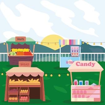 빵 사탕 과일과 아이스크림 시장 디자인 일러스트 레이션