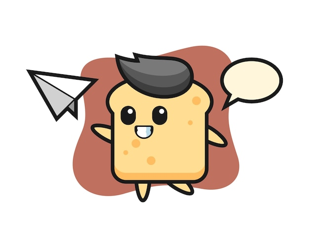 종이 비행기를 던지는 빵 만화 캐릭터