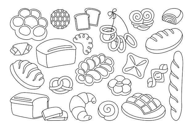 빵 만화 클립 아트 라인 세트 호밀, 곡물 및 밀 덩어리 빵, 프레첼, 머핀, 크루아상, 프랑스 바게트