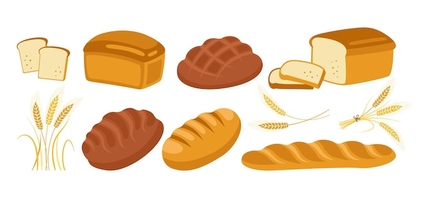Bread cartoon icon set. bakery goods bread loaf and ears wheat, and french baguette, pretzel, croissant, french baguette ciabatta