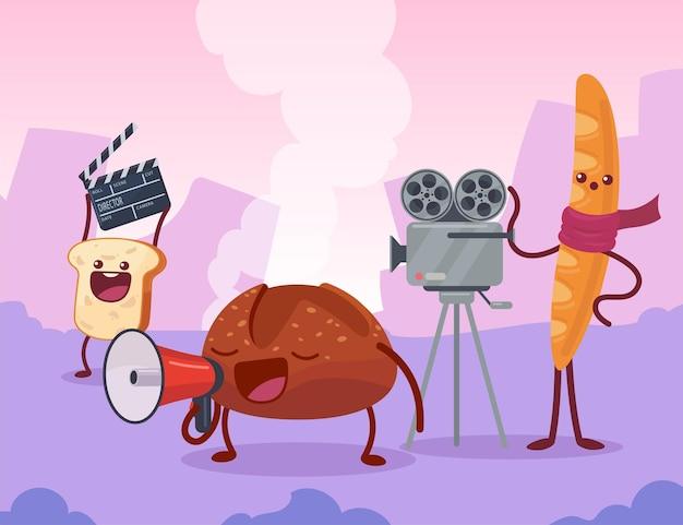 Хлебные персонажи вместе снимают фильм на съемочной площадке. тост с хлопушкой, багет с видеокамерой, булочка, говорящая в мегафон, карикатура