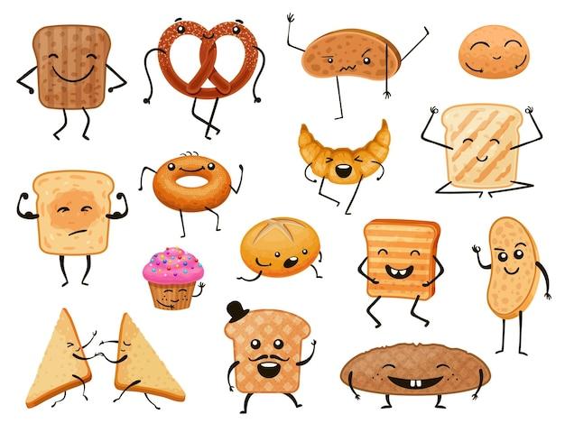 빵 캐릭터. 재미있는 만화 베이커리 제품, 빵, 토스트, 달콤한 패스트리. 귀여운 얼굴 벡터 세트가 있는 아침 크루아상과 머핀