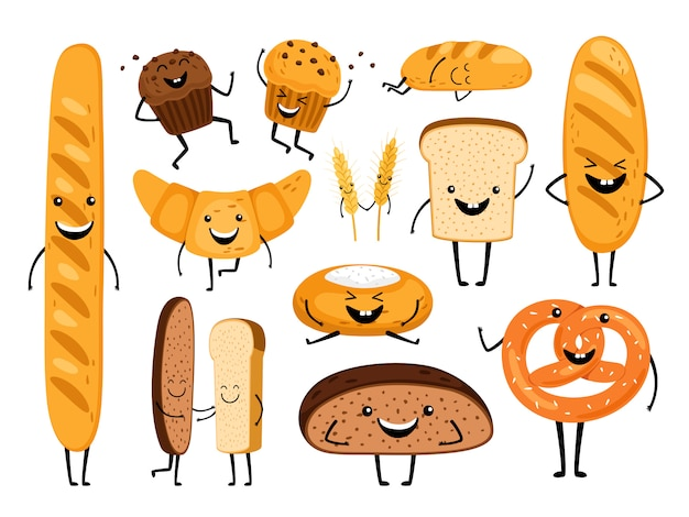 Bread characters. funny tasty bakery pastries, cartoon happy breads faces character set, kawaii croissant and pastry, cute chocolate muffin and baguette expression
