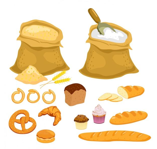 Сбор хлеба. мука и зерно установлены. кухня мультяшная, хлебобулочные изделия, бублик и багет, ломтики пшеничного хлеба на завтрак, круассан и маленький крендель.