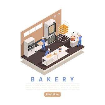 Composizione isometrica interna per pane e pasticceria con personale che impasta il forno industriale per impastare la pasta di rotolamento