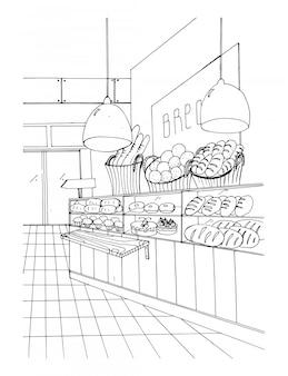 パン部門手描き黒と白のイラスト、店内