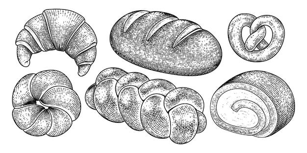 Insieme decorativo di schizzo disegnato a mano di pane e dessert