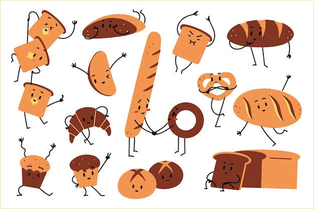 Хлебный набор doolde. рисованной каракули вегетарианские пищевые талисманы счастливые фрукты эмоции хлеб тосты круассан пончик на белом фоне. иллюстрация сельскохозяйственных продуктов запеченной пшеницы.