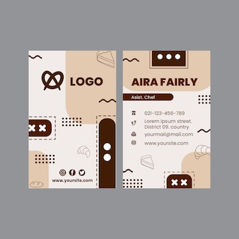 Bread double-sided business card template