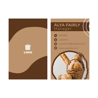 Bread double-sided businesscard vertical