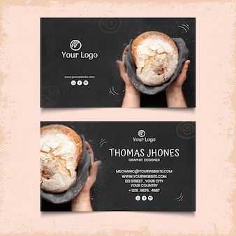Bread double-sided horizontal business card template