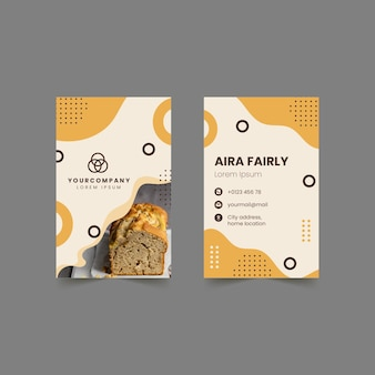 Bread double-sided vertical business card template