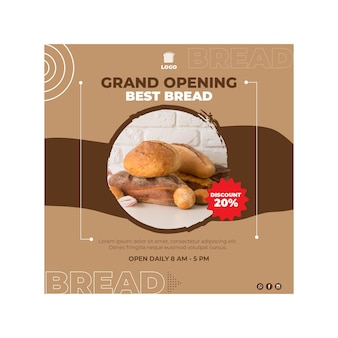 Bread flyer square concept