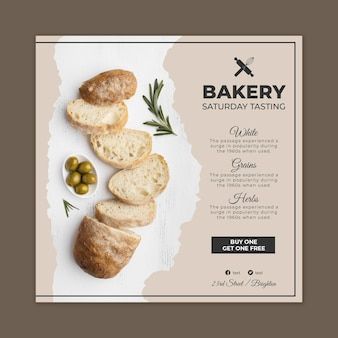 Bread flyer template with photo