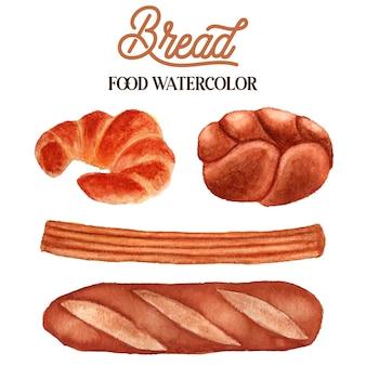 빵 음식 수채화 일러스트