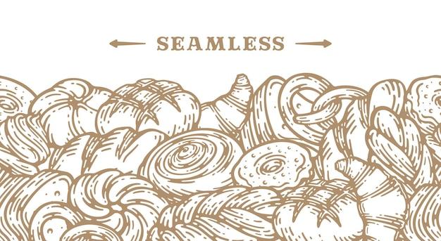 パン手描きイラスト。ベーカリーショップやカフェテリアのヴィンテージペストリー、デザート、ケーキ、小麦、小麦粉の焼きたてのパンのスケッチ。シームレスなパターングラフィック、メニューの定型化された画像の背景