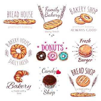 Bread house logo set