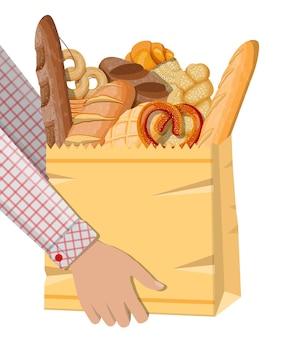 Иконы хлеба и бумажная хозяйственная сумка