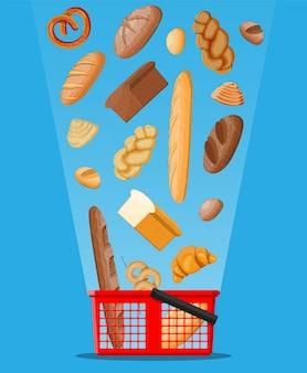 パンのアイコンと買い物かご。