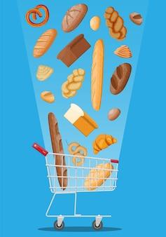 빵 아이콘과 쇼핑 카트입니다. 통곡물, 밀, 호밀 빵, 토스트, 프레첼, 치아바타, 크루아상, 베이글, 프렌치 바게트, 계피빵. 평면 스타일의 벡터 일러스트 레이 션