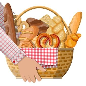 手にパンのアイコンと籐のバスケット。