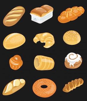 パン屋さんのパンのアイコンを設定します。ベーキングのコレクション。市場向けの小麦粉製品。