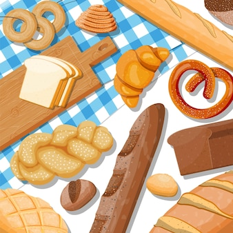 Bread icons set on table. whole grain, wheat and rye bread, toast, pretzel, ciabatta, croissant, bagel, french baguette, cinnamon bun.
