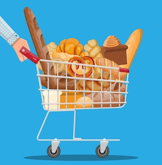 Bread icons and shopping cart