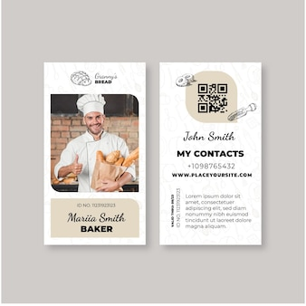 Modello di carta d'identità del pane con foto