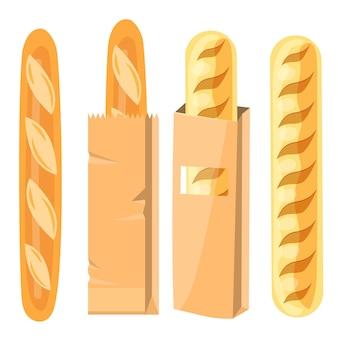 紙袋に入ったパン。詰められたフランスのバゲット、ローフ。 Premiumベクター