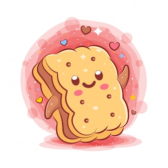 Bread kawaii cartoon character