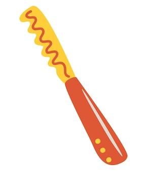 パン切り包丁。台所用品。白い背景で隔離の漫画フラットベクトルイラスト。