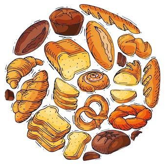 Bread loaf round set illustration.