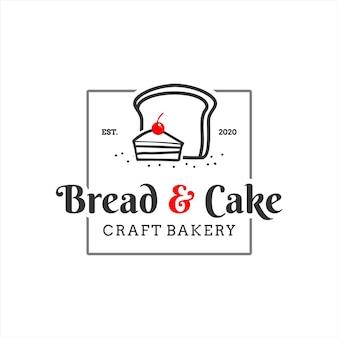 パンのロゴの正方形のバッジのケーキのベクトル