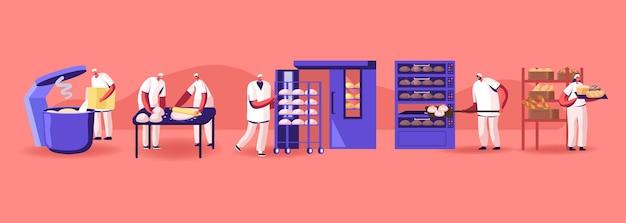 빵 기계 생산. toques, 밀가루 분쇄, 반죽 반죽, 현대 제조의 빵 굽기에서 비즈니스 캐릭터 작업자가 있는 산업 공정 장비. 만화 평면 벡터 일러스트 레이 션