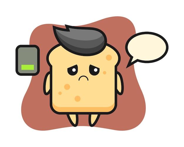 Персонаж-талисман хлеба делает усталый жест