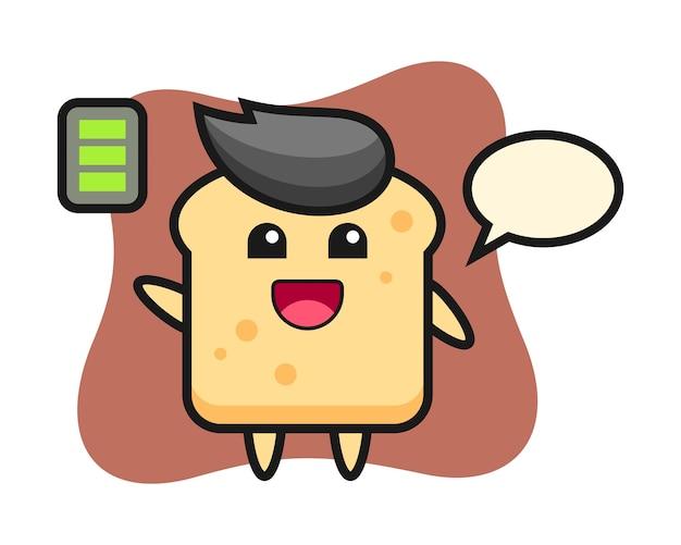 精力的なジェスチャーでパンのマスコットキャラクター