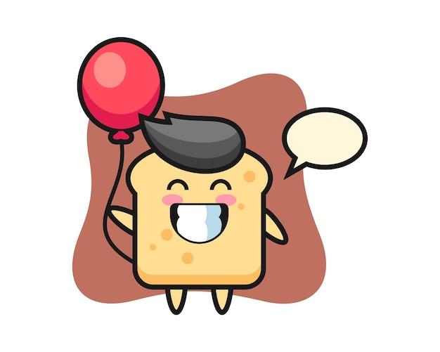 パンのマスコットは風船を遊んでいます