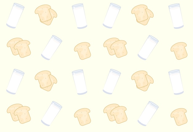 Bread and milk pattern background