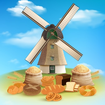 Bread and mill with harvest and grain flat illustration