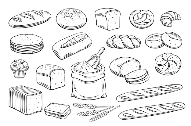 パンのアウトラインアイコン。デザインメニューベーカリー用のライ麦、全粒粉パン、小麦パン、プレッツェル、マフィン、ピタ、チャバタ、クロワッサン、ベーグル、トーストパン、フレンチバゲットを描きます。