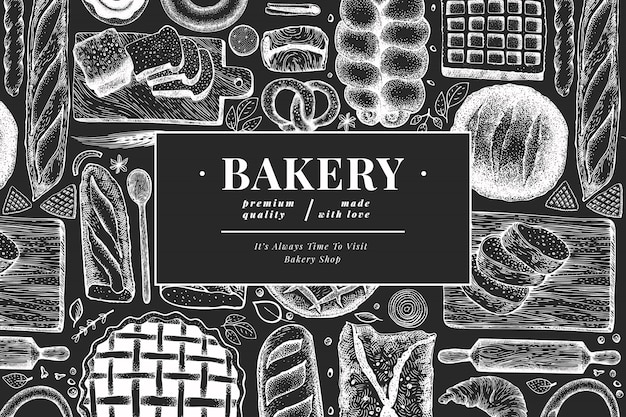 Bread and pastry banner.  bakery hand drawn illustration on chalk board. vintage  template.